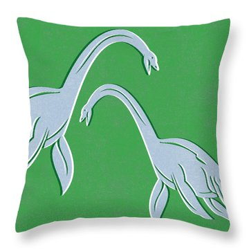Plesiosaurus Throw Pillow by Linda Woods