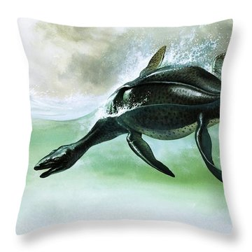 Plesiosaurus Throw Pillow by William Francis Phillipps