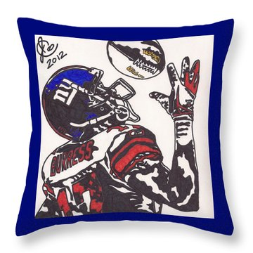 Throw Pillow featuring the drawing Plexico Burress by Jeremiah Colley