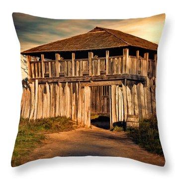 Plimouth Plantation  Meeting House Throw Pillow by Lourry Legarde