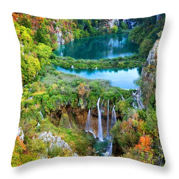 Plitvice Lakes In Croatia Throw Pillow