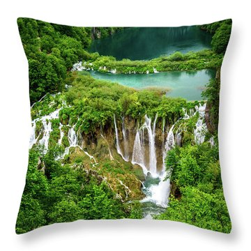 Plitvice Lakes National Park - A Heavenly Crystal Clear Waterfall Vista, Croatia Throw Pillow