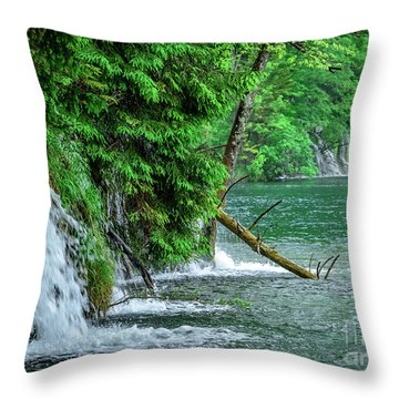 Plitvice Lakes National Park, Croatia - The Intersection Of Upper And Lower Lakes Throw Pillow