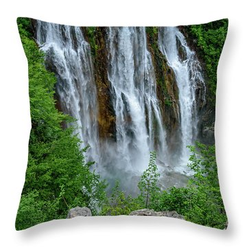 Plitvice Lakes Waterfall - A Balkan Wonder In Croatia Throw Pillow