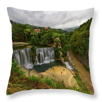 Pliva Waterfall, Jajce, Bosnia And Herzegovina Throw Pillow