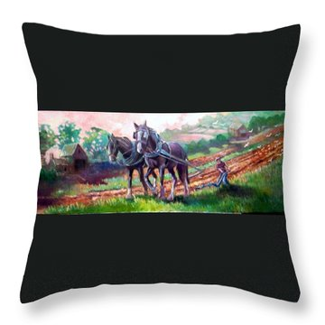 Ploughing Throw Pillow by Paul Weerasekera