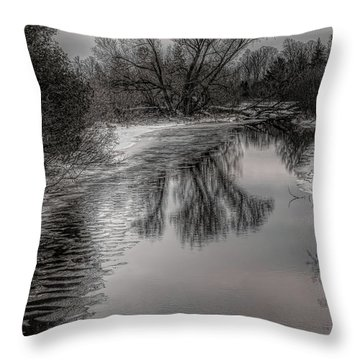 Plover River Black And White Winter Reflections Throw Pillow