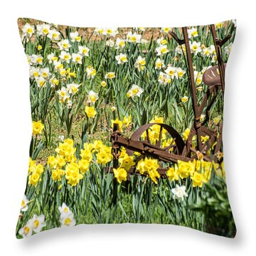 Plow In Field Of Daffodils Throw Pillow