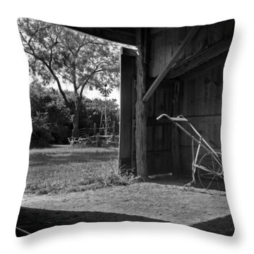 Plow Is In The Barn Throw Pillow