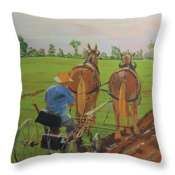 Plowing Match Throw Pillow by David Gilmore