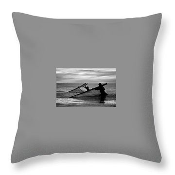 Plowing The Sea - Thailand Throw Pillow