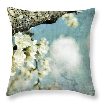 Plum Blossoms And Puffy Clouds Throw Pillow