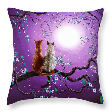 Plum Blossoms In Pale Moonlight Throw Pillow by Laura Iverson