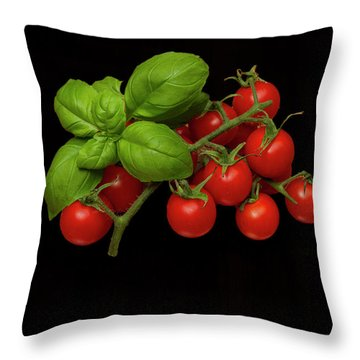 Throw Pillow featuring the photograph Plum Cherry Tomatoes Basil by David French