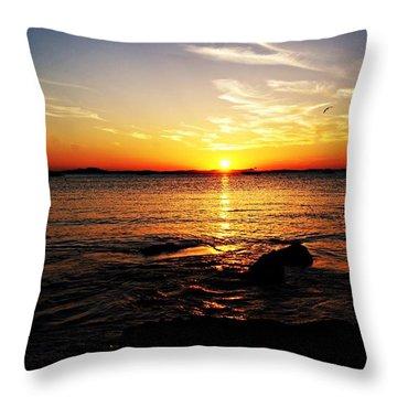 Plum Cove Beach Sunset G Throw Pillow by Joe Faherty