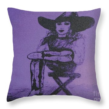 Plum Cowgirl Throw Pillow by Susan Gahr