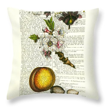 Plum Fruit And Blossom Plant Antique Illustration Throw Pillow
