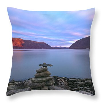 Plum  Point Rock Cairn At Sunset Throw Pillow by Angelo Marcialis