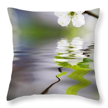 Plum Tree Blooming Throw Pillow