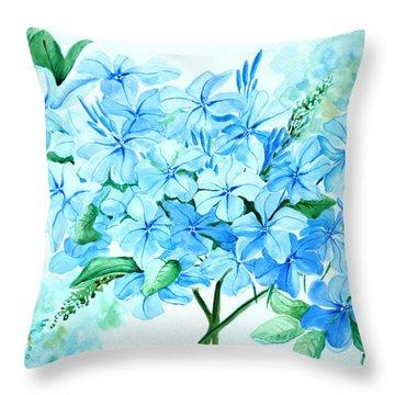 Plumbago Throw Pillow by Karin  Dawn Kelshall- Best