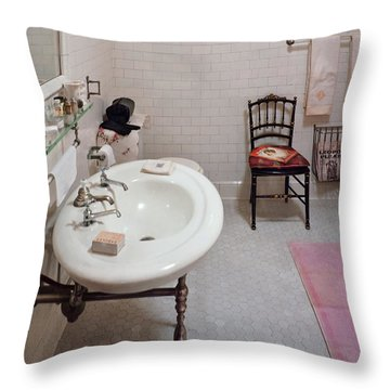 Plumber - The Bathroom  Throw Pillow by Mike Savad