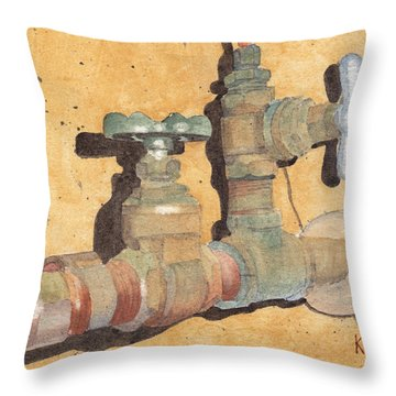 Plumbing Throw Pillow by Ken Powers