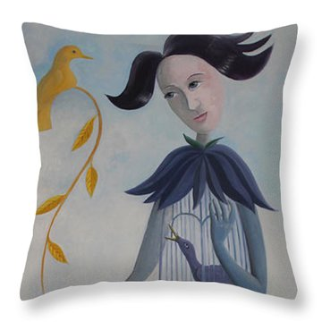 Plume And Golden Bird Throw Pillow