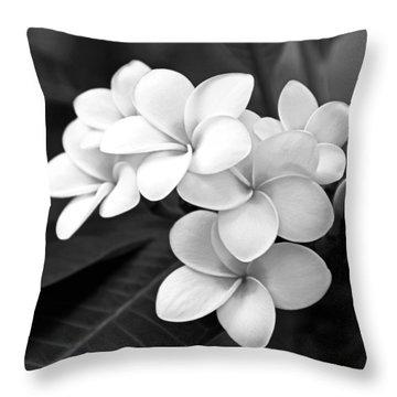 Plumeria - Black And White Throw Pillow by Kerri Ligatich