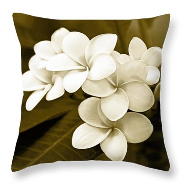 Plumeria - Brown Tones Throw Pillow by Kerri Ligatich