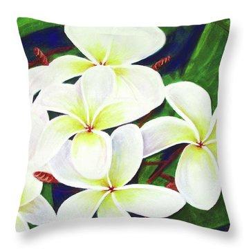 Plumeria Flower #289 Throw Pillow by Donald k Hall