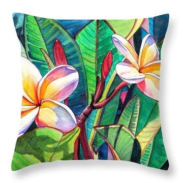 Plumeria Garden Throw Pillow