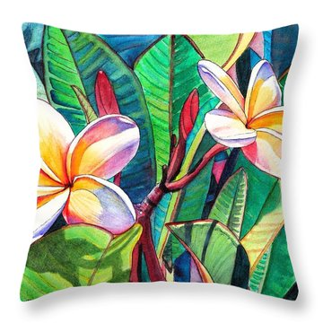 Plumeria Garden Throw Pillow