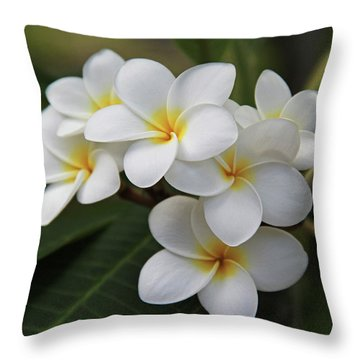 Plumeria - Golden Hearts Throw Pillow