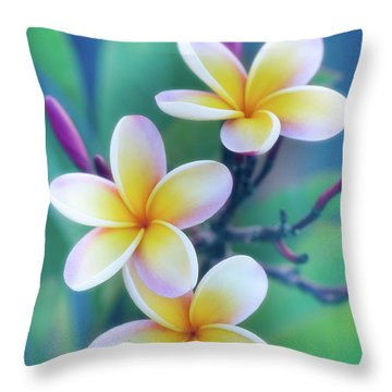 Plumerias In Pastel Throw Pillow