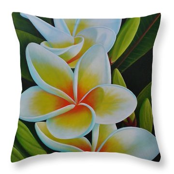 Throw Pillow featuring the painting Plumeria by Paula L