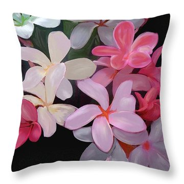 Plumeria Throw Pillow by Priscilla Wolfe