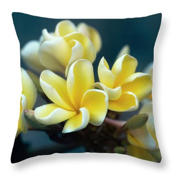 Plumerias Out Of The Blue Throw Pillow