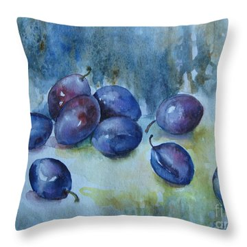 Throw Pillow featuring the painting Plums by Elena Oleniuc