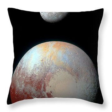 Throw Pillow featuring the photograph Pluto And Charon by Nicholas Burningham