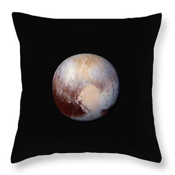 Pluto Dazzles In False Color Throw Pillow by Nasa