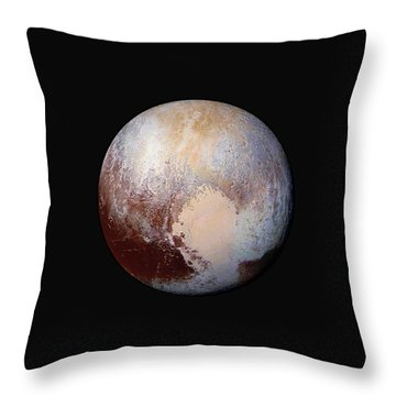 Pluto Dazzles In False Color - Square Crop Throw Pillow by Nasa