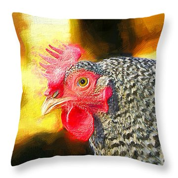 Plymouth Barred Rock Portrait Throw Pillow