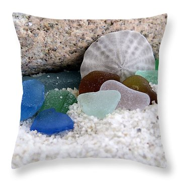 Plymouth Beach Treasures Throw Pillow