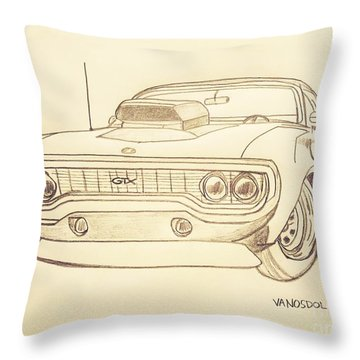 Plymouth Gtx American Muscle Car - Antique  Throw Pillow