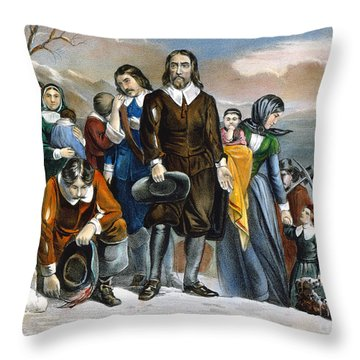 Plymouth Rock, 1620 Throw Pillow by Granger