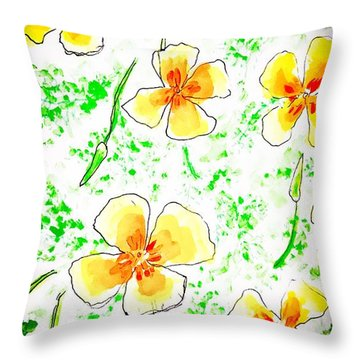 Pocket Full Of Poppies Throw Pillow