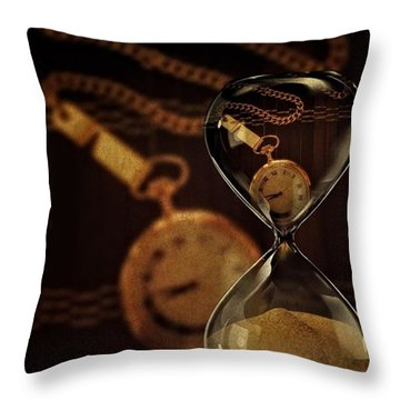 Pocket Watch And Sandglass Throw Pillow