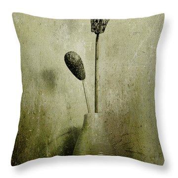 Pods In A Vase Throw Pillow by Jill Smith