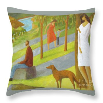Throw Pillow featuring the painting Poets Hill by Glenn Quist