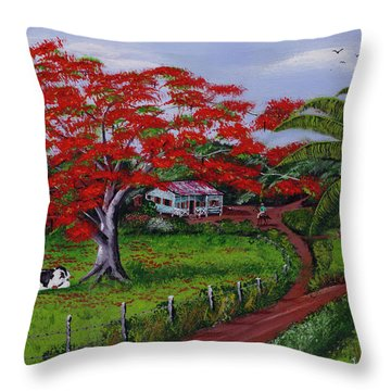 Poinciana Blvd Throw Pillow by Luis F Rodriguez